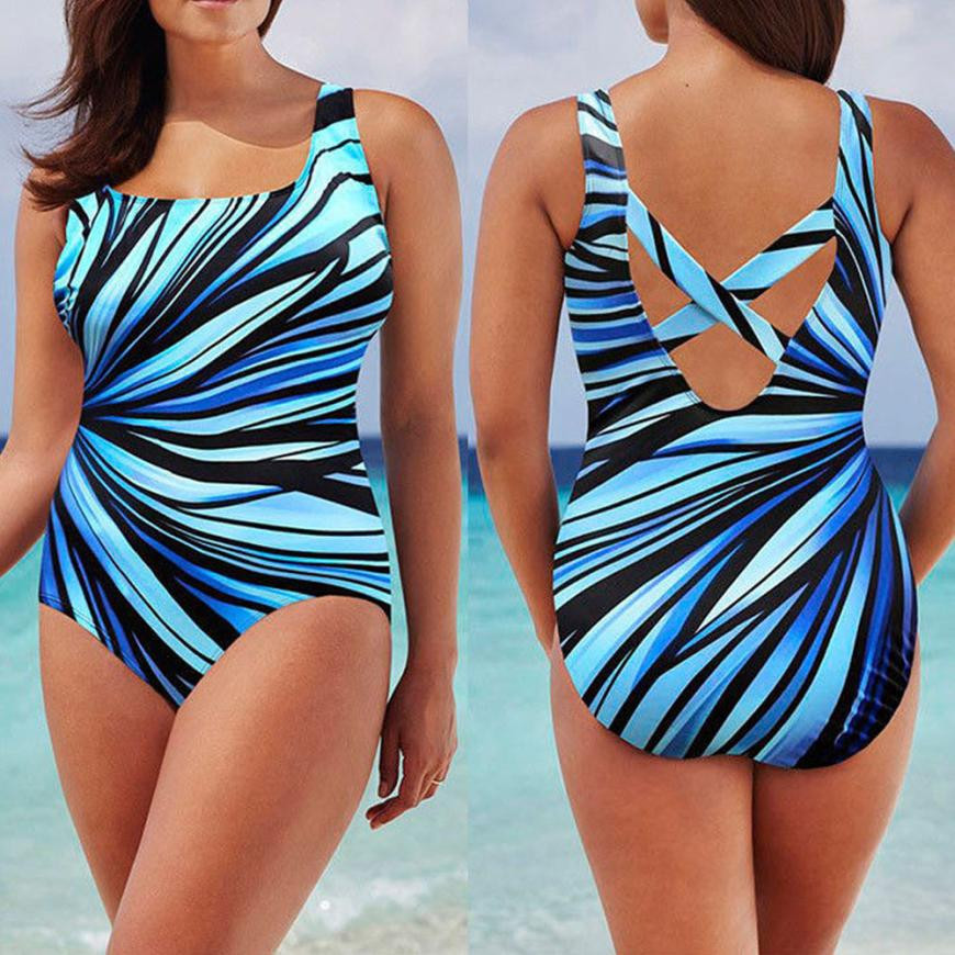 bce158c2ff7 Womens Plus Size Sexy One-piece Leak-Back Shoulder Swimwear Swimming  Costume Padded Swimsuit Monokini Push Up Bikini Sets