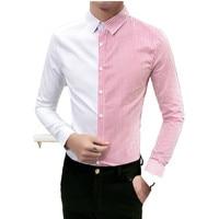 2018 Spring Fashion Contrast Shirt Slim Fit Black White Camisa Masuclino Men Fashion Dress Shirts Men