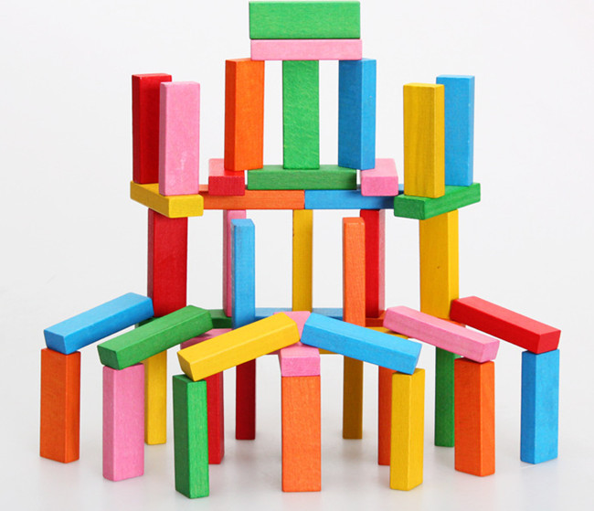 ФОТО New wooden toy 54 piece Blocks Classlc game wooden Tower Baby toy Free shipping