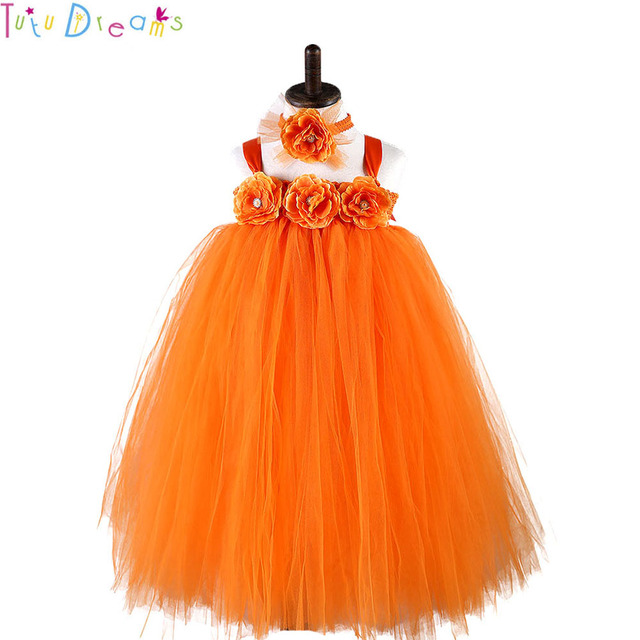 624a46fae70c Halloween Pumpkin Costume Tutu Dress Orange Long Flower Girls Thanksgiving  Dresses Children Autumn Winter Clothes 10 to 12 Years