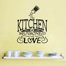 Vinyl Wall Decal Kitchen is Seasoned With Love Quote Stickers Modern Home Decor Removable Art Mural AY1572