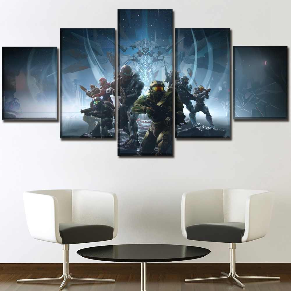 One Set 5 Panels Game Poster Halo 5 Guardians Painting Modern Home Wall Decorative Canvas Picture Art HD Print Modern Artworks