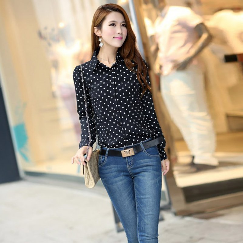 Summer Women Blouses Casual Long Sleeve Collar Shirt Chiffon Soft Ladies Office Formal Dots Blouses Ladies Clothing
