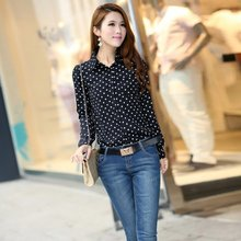 Summer Women Blouses Casual Long Sleeve Collar Shirt Chiffon