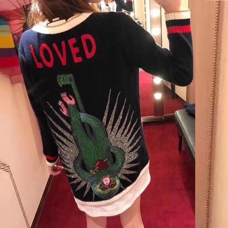 2018 noir Long tricoté pull femmes Cardigans manteau cachemire singe broderie diamant perle boutons hiver pull vêtements haut