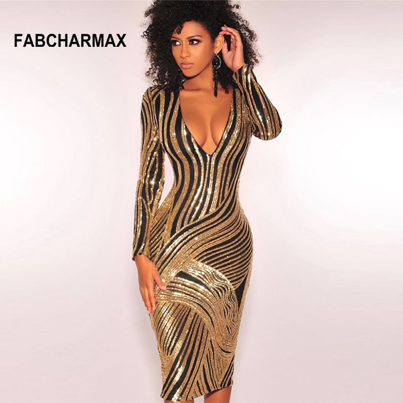 84bd73453a3f Geometric gold black sequin dress women sexy v neck evening party sequins  winter dress long sleeve