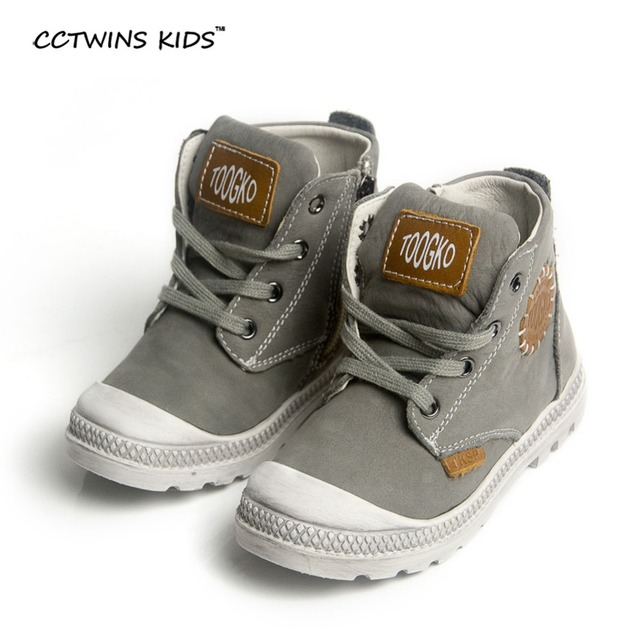 CCTWINS KIDS 2017 child genuine leather shoes for baby boys gray martin boots girls fashion ankle boots kids brand black C350