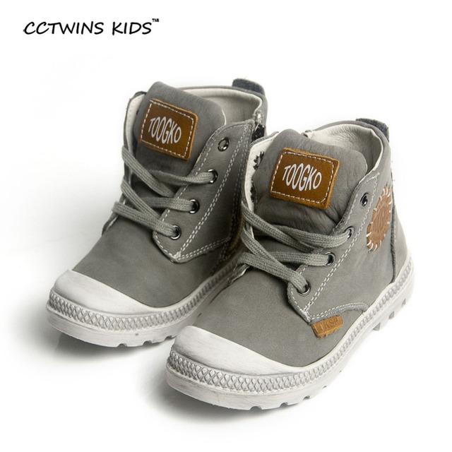 CCTWINS NIÑOS 2017 niños zapatos de cuero genuinos para los bebés gris botines martin botas chicas moda niños marca negro C350