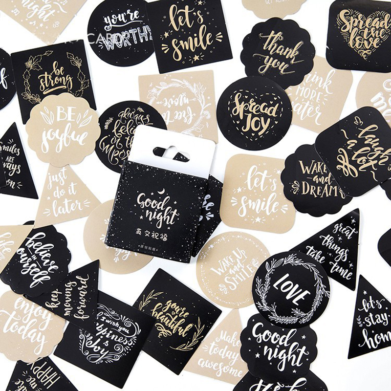45 Pcs/pack Cute English Blessing Decorative Stickers Adhesive Sticker DIY Decoration Craft Scrapbooking Gift Stationery