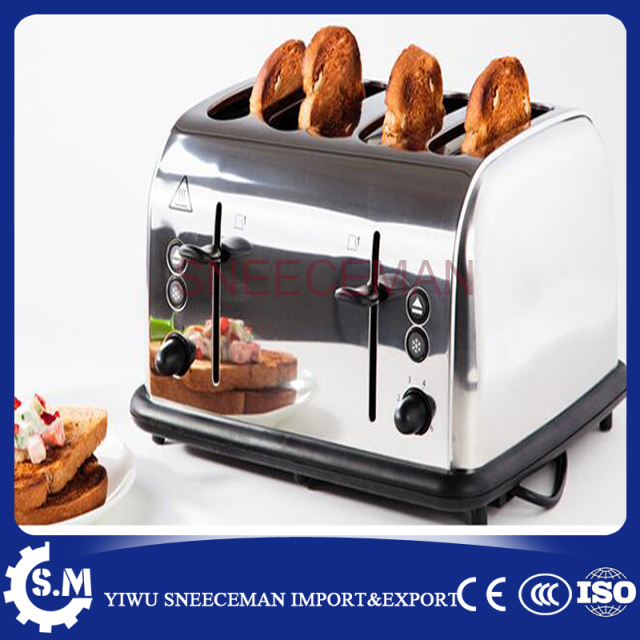 4 pcs electric bread toaster bread baking machine Stainless Steel Bread Toaster Breakfast Maker Toast Maker stainless steel household portable electric toaster breakfast machine automatic bread baking maker fried eggs boiler frying pan