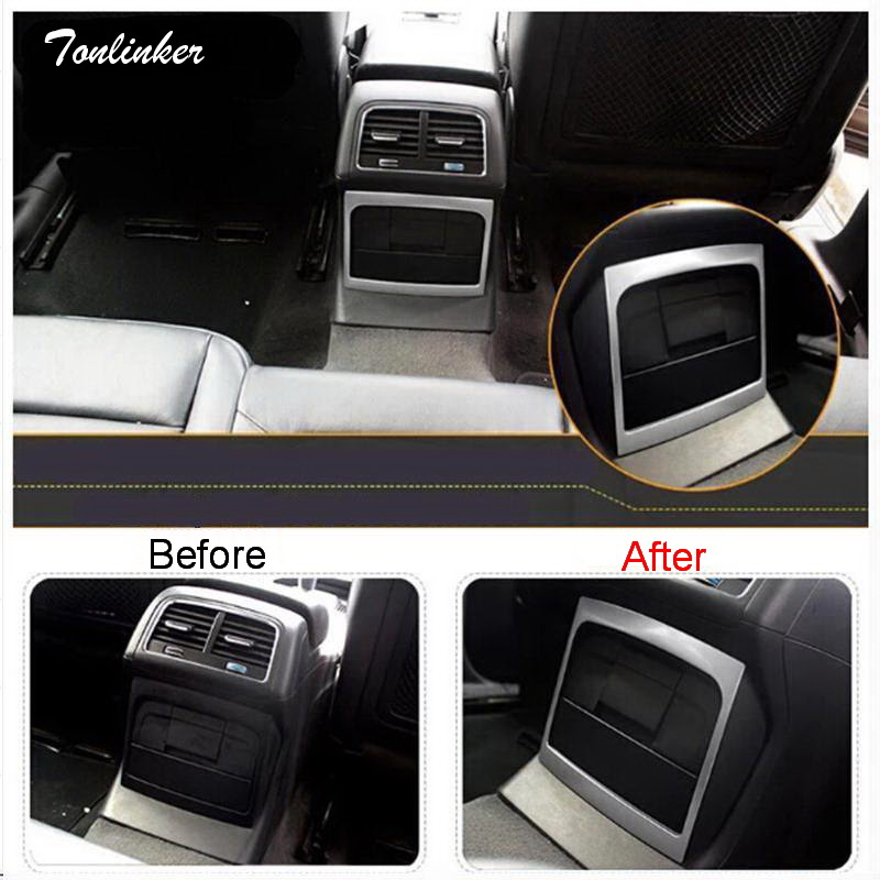 Tonlinker 1 PCS DIY car styling stainless steel Rear seat outlet light box cover case Stickers for AUDI Q5 2012-15 accessories