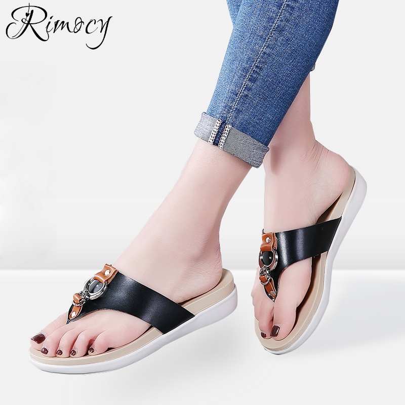 Rimocy Flip Flops 2018 New Women Summer Beach Slipper Low Heels Casual Beach Slides Female Comfort Leather Platform Sandals
