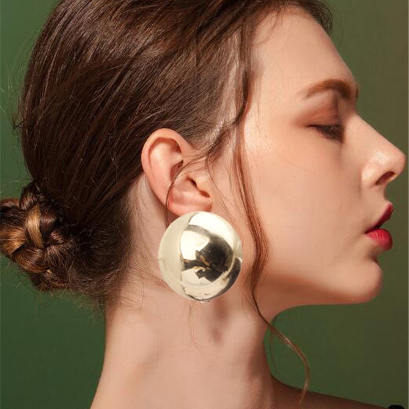 SexeMara New Fashion Stud Earrings For Women Golden Color Half Round Ball Geometric Earrings For Party Wedding Gift Ear Jewelry