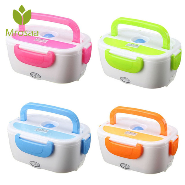 Mrosaa 1.05L 12V Electric Heated Car Plug Heating Bento Lunch Case Set Outdoor Picnic Food Warmer Container With Scoop Kids Gift