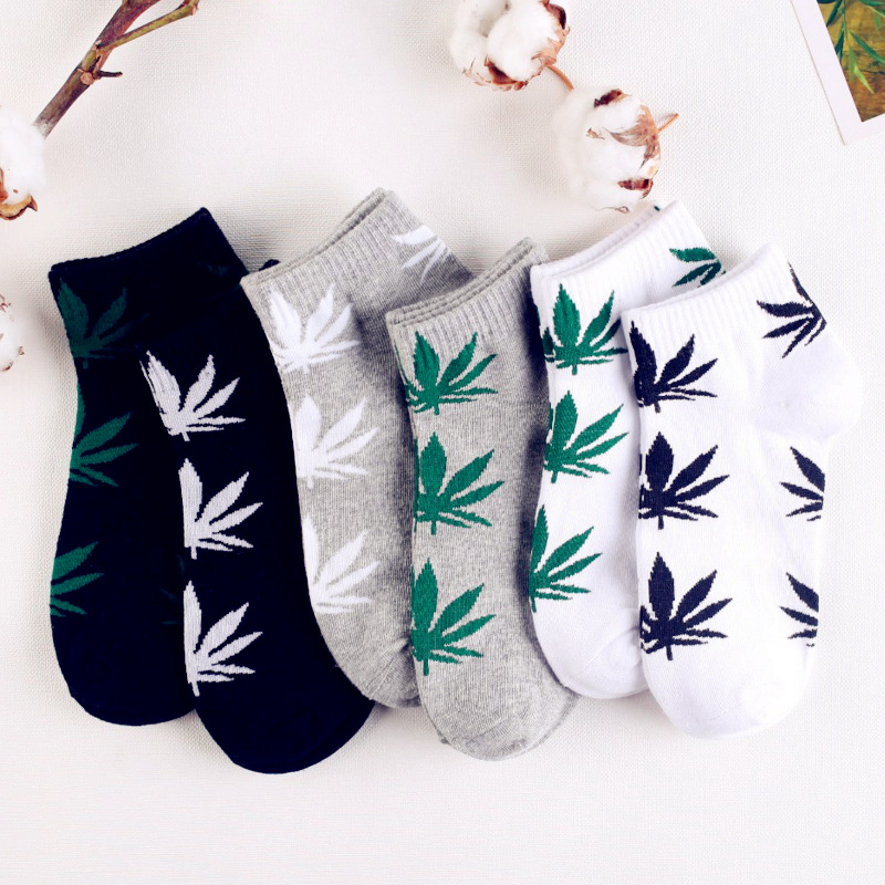 Dreamlikelin Harajuku Men's Socks Cotton Hip Hop Skateboard Maple Leaf Hemp Ankle Socks Cotton Summer Socks Gifts For Men
