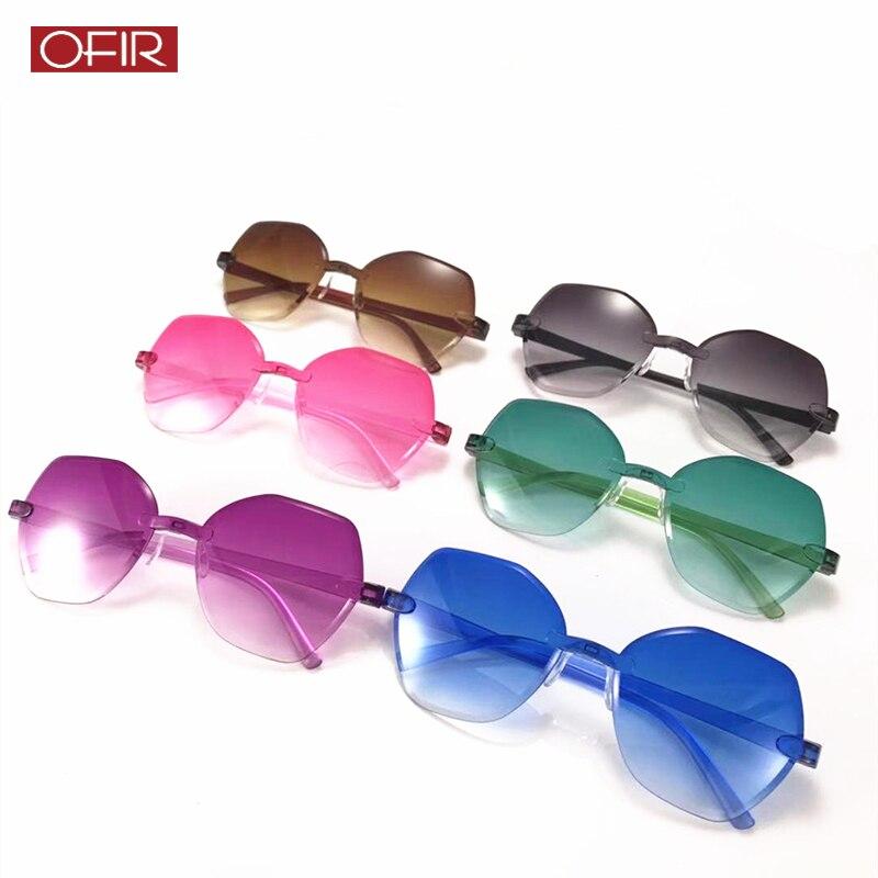 New Fashion Square Retro Rimless Sunglasses Women Luxury Brand Designer Gradient Sun glasses Eyewear Candy Color UV400