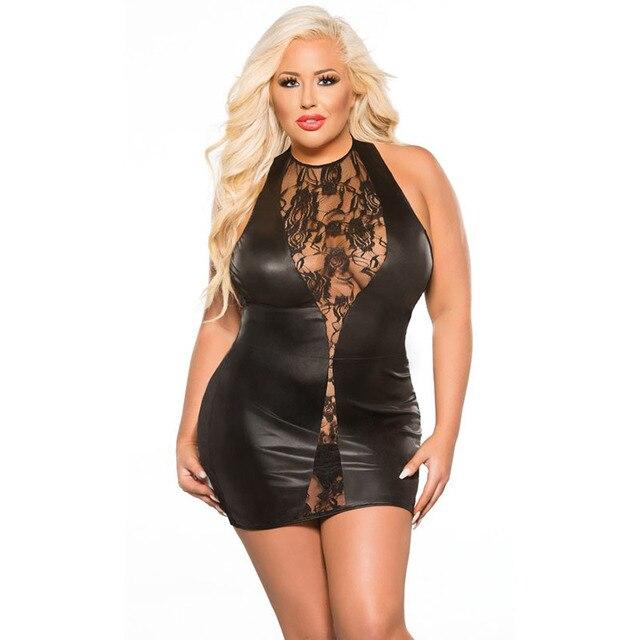 2389111f231f5 Plus Size Sensuelle Exotique de Vinyle et Dentelle Micro Mini Clubwear  Femmes Robe Sexy Noir Wet
