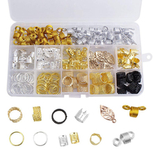 180PCS Hair Rings Tubes Beads Silver Gold Metal Hair Cuffs Dreadlocks Jewelry Accessories Kit for Braids Dreads with Box
