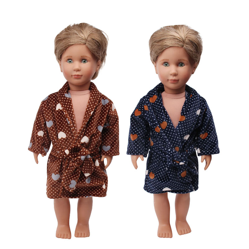 Doll Clothes Boy Dark Brown Robe Black Bathrobe Pajamas Toy Accessories Fit 18 Inch Girl Doll And 43 Cm Baby Doll C661