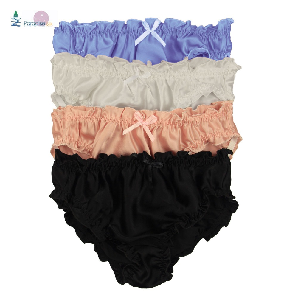 2e31b9e05ef Women s Flouncing Panties Lot 4 Pair 100% Silk Women s String Bikinis Sexy  Briefs High Quality