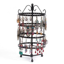 144 Holes Round Revolving Jewelry Display Rack for Earring Holder Black Metal Necklace Organizer Stand