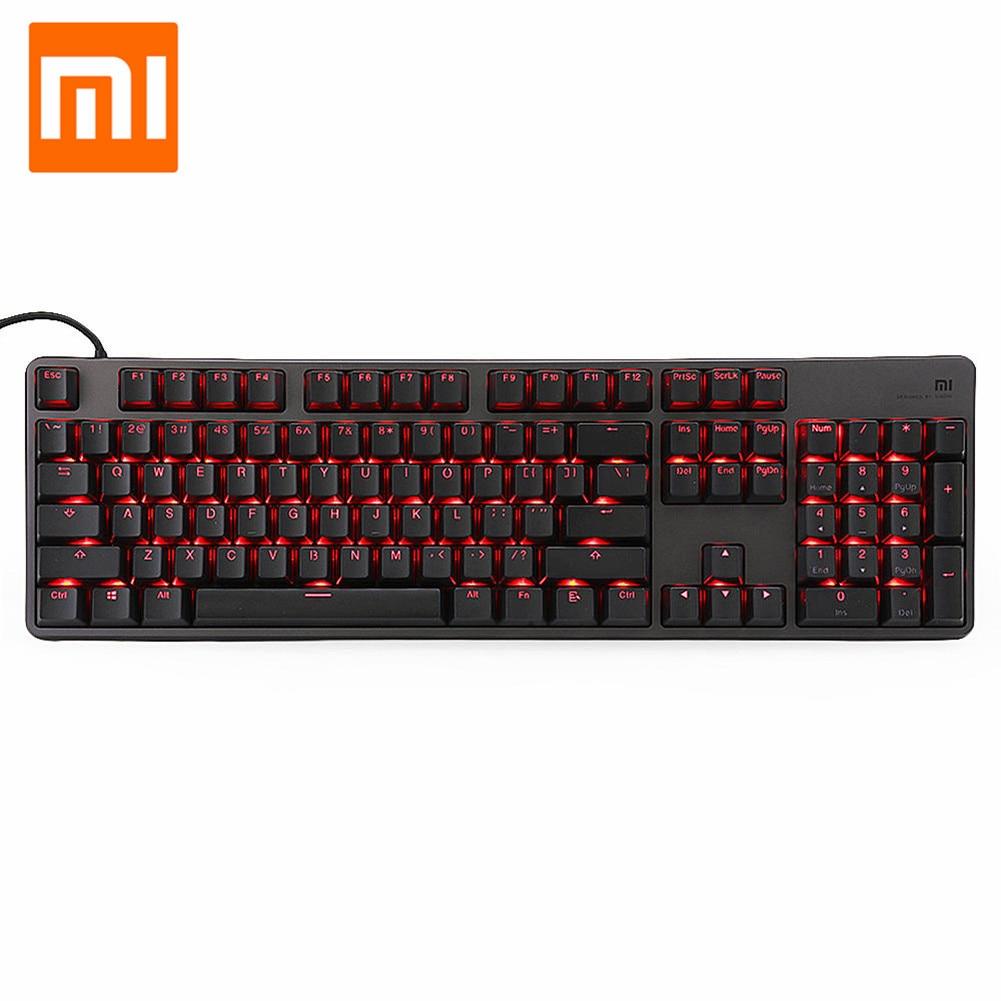 Xiaomi RGB Backlight 104Keys USB Wired Keyboard Metal Gaming Game Ergonomic Keyboard For Computer Laptop Desktop With Foot Stool