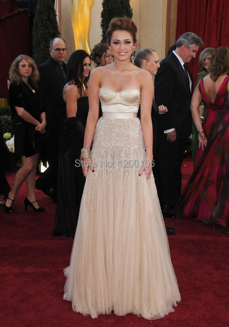 Real Image Champagne Sweetheart Beads/Sequins Miley Cyrus Celebrity Dresses Formal  Gowns 2014 Oscar Red Carpet Dress