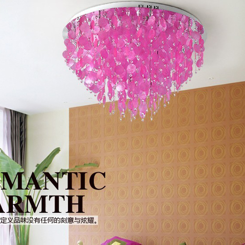 Luxury shell circle ceiling light modern lamp pink living room lamps ...