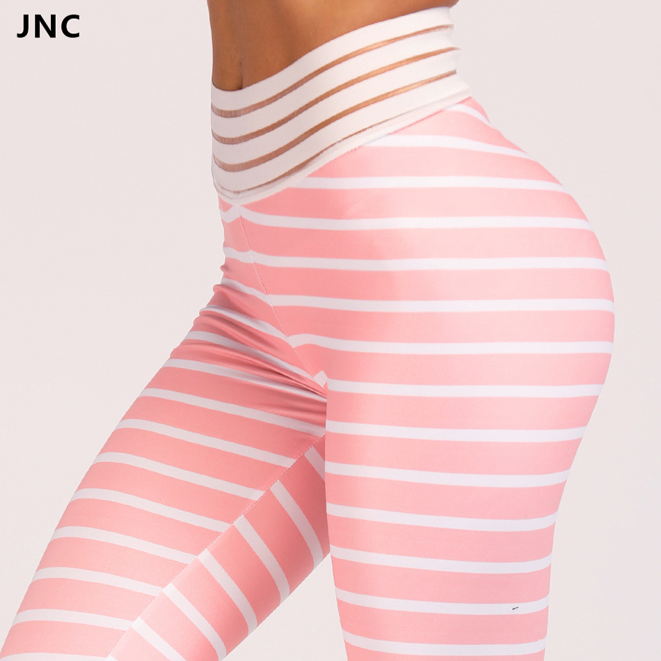Transparent Wasit Pink Stripe Yoga Leggings For Women Sports Pants Big Booty Compression Fitness Workout Elastic Running Tights