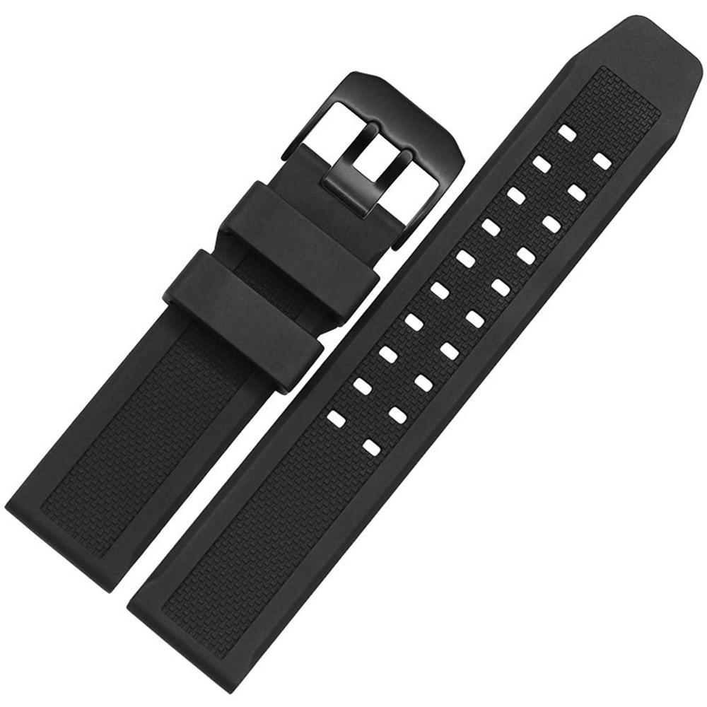 GJ17 Caoutchouc Bracelet 23mm Hommes Noir Sport Plongée montre en silicone de Courroie De Bande acier inoxydable Métal Boucle Ardillon Livraison Gratuite