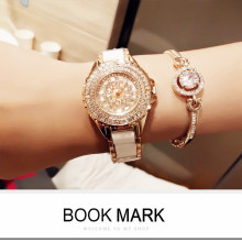 Casual Fashion Ladies Quartz Watch New Hot Sale Rose Gold Ceramic Strap Full Rhinestone Female Watch