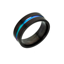 New simple fashion 8mm stainless steel matte black men's two-color ring black couple ring men's and women's wedding ring jewelry