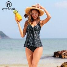 Attraco Tankini Set Women Retro Print Swimsuit Padded Swimwear Bathing Suit Summer Beachwear Bikini Hot Sale