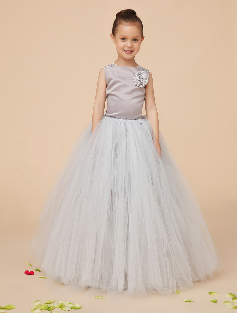 Silver Ball Gown Tulle little girls dresses Girls Pageant Dresses with appliques kids formal dress party