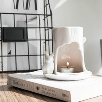 Classic American White Ceramic Scented Candle Holders Incense Essential Oil Lamp Tealight Candle Holder Yoga Oil Burner Ornament