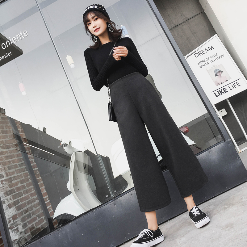 Wool   wide     leg     pants   female 2019 autumn and winter new nine   pants   high waist casual   pants   trousers loose   pants