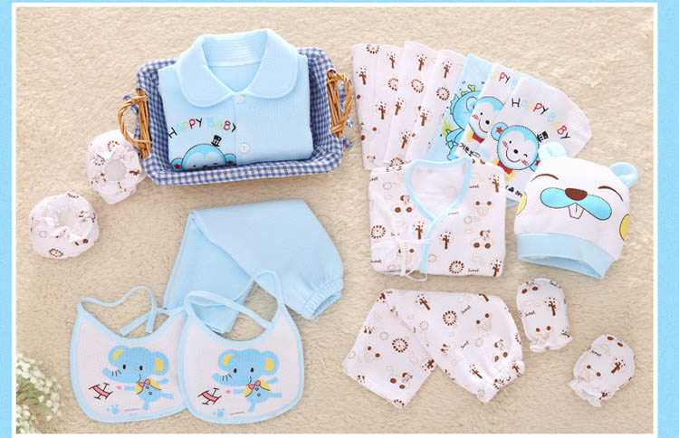 Cotton Newborn Baby Boy Clothes Set Print Warm Baby Girl Clothing 3 Colors New Born Gift 18 Pcs/Set 9 12m baby boy set monkey print clothes for children newborn baby boy clothing corduroy 2017 autumn clothes 2pcs boy outwears