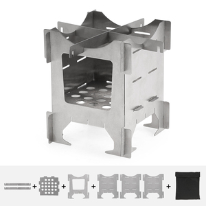 Image 3 - Lightweight Titanium Folding Wood Stove Outdoor Camping Stove Picnic Cooking Backpacking Furnace Outdoor Camping Stove