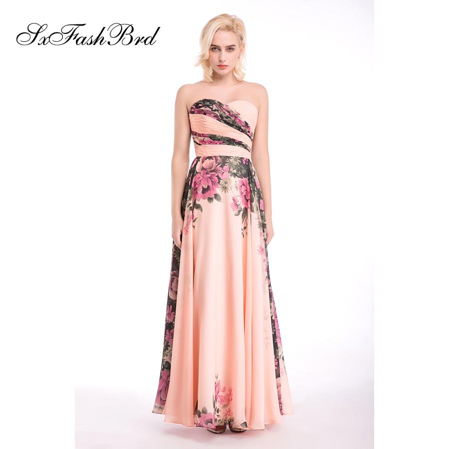 Vestido De Festa Sweetheart En Line Sommar Print Blomma Chiffon Lång - Särskilda tillfällen klänningar