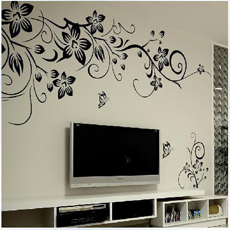 New Fashion Black Flower Vine Wall Stickers Home Decor Romantic Flower Butterflies Living Room Bedroom Wall Sticker Wallpaper