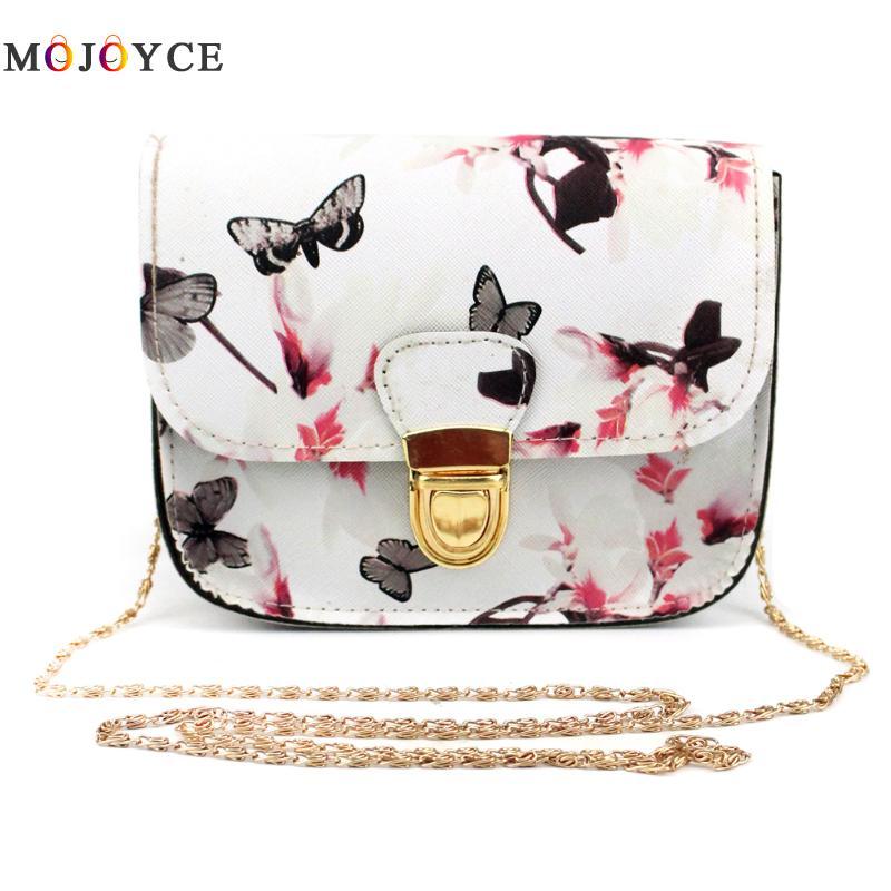 Women Bag Flower Butterfly Printed PU Leather Small Flap Crossbody Bags torebki damskie