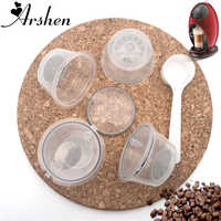 Arshen 4 Pcs/Set Crystal Dolce Gusto Coffee Capsule Plsatic Refillable Capsule Reusable 200 Times Compatible with Nescafe Dolce