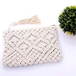 FGGS хлопчатобумажной веревки с бахромой ручной работы из хлопка сумки кипы только плечи пляжные сумки (белый)