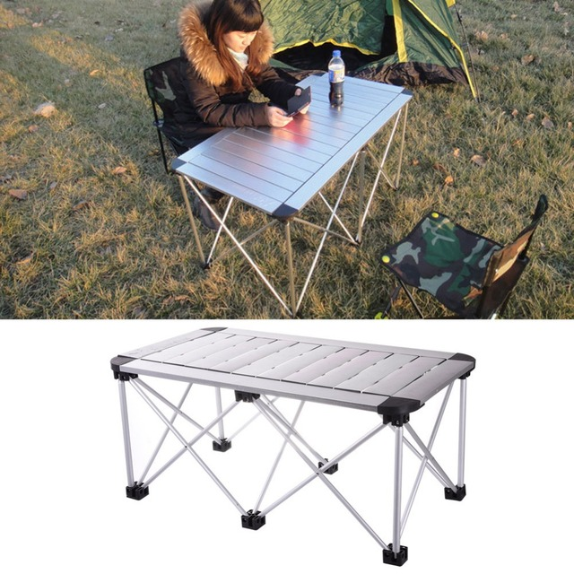 Height Adjustable Aluminum Alloy Folding Table Portable For Indoor Outdoor  Activity Recreation Dining Picnic Party