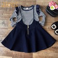 Girl Children's Clothes Black And White Striped Long Sleeve T-shirt+Straps Denim Skirt Girls Clothing Sets Sling Dress Suits