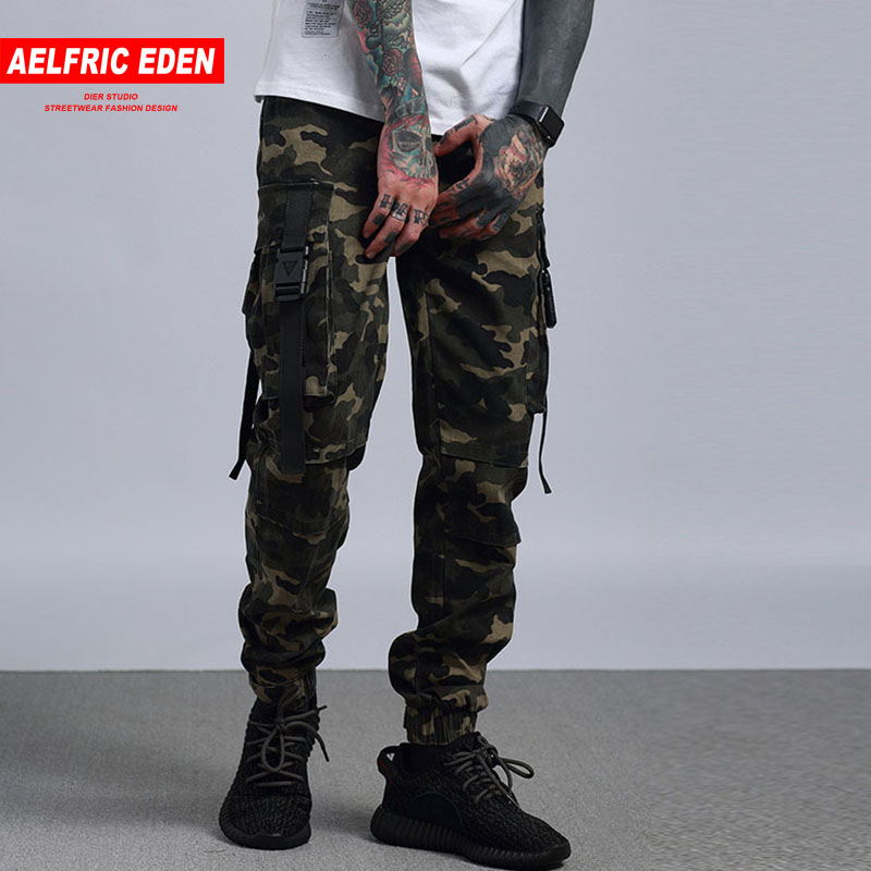 Aelfric Eden Hommes Joggers Pantalon Cargo Boost Militaire Justin Bieber Casual Pantalon Hanche Hop Poches Camouflage Noir pantalons de Survêtement PA104