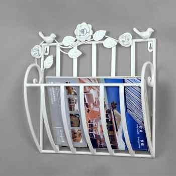Metal Wall Living Room Newspapers Rack Books Magazine Holder Toilet 30X13X30cm White Black