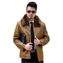 The new winter 2016 More men leather big yards Collar with velvet coat big yards