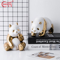 Creative Gold Silver Plated Ceramic Panda Figurine Decoration Home Luxury Gift for Boss Room Office Table Animal Statue Displays