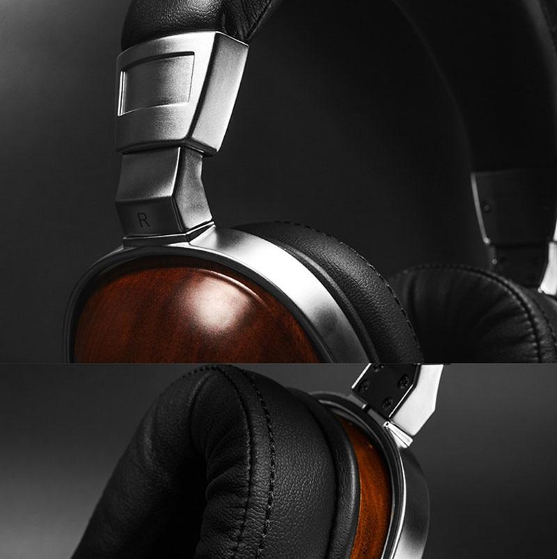 Original Blon B8 HiFi Wooden Metal Headphone Black Mahogany Headset Earphone With Beryllium Alloy Driver And protein Leather